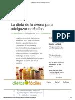 La Dieta de La Avena Para Adelgazar en 5 Días