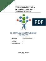 El Control Constitucional en Bolivia