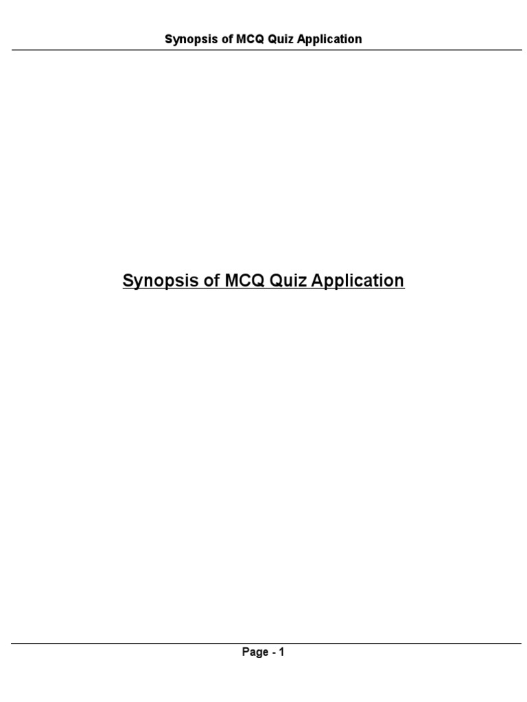 Synopsis of MCQ Quiz Application | Model–View–Controller