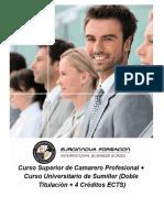 Curso Superior de Camarero + Curso Universitario de Sumiller (Doble Titulación + 4 Créditos ECTS)