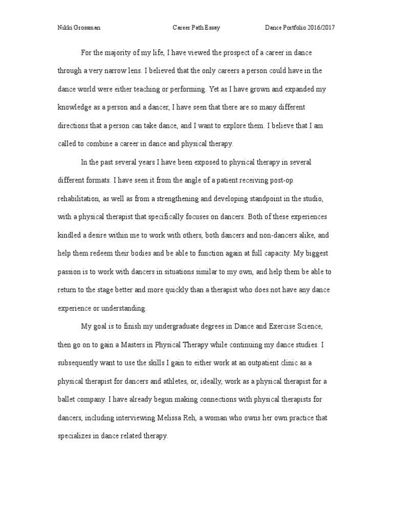 my career path essay example Colleges and even employers might ask you to write a career goals essay it is not as difficult as it sounds get started here.