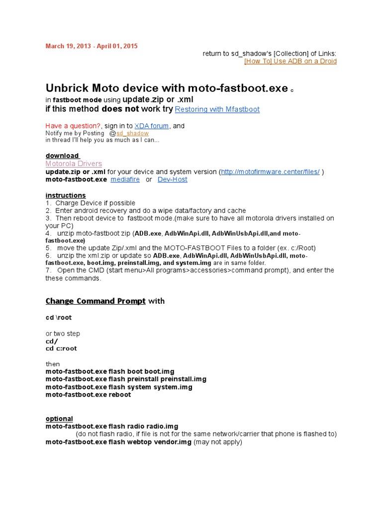 Moto Fast Boot Tutorial | Arranque | Zip (Formato de archivo)