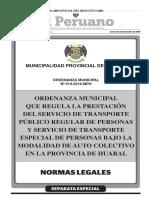 Ordenanza Municipal que regula la prestación del Servicio de Transporte Público Regular de Personas y Servicio de Transporte Especial de Personas bajo la Modalidad de Auto Colectivo en la Provincia de Huaral