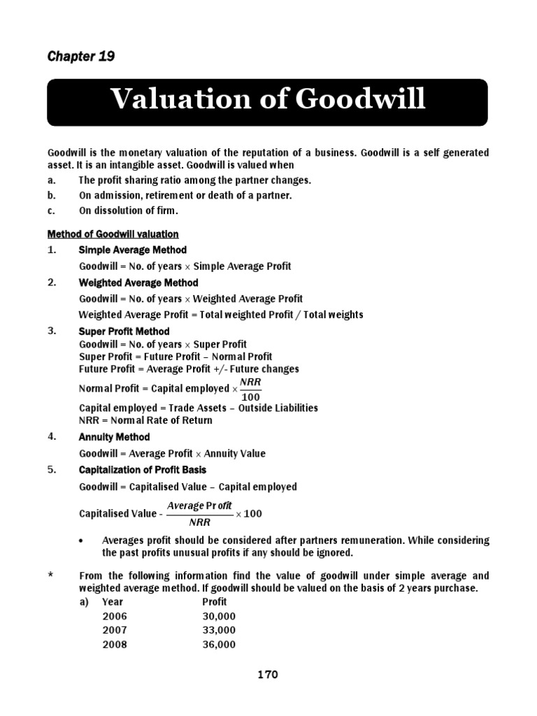 19 valuation of goodwill goodwill accounting valuation finance