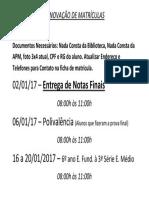 Calendário de Renovação de Matrículas
