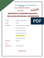 Sistema educativo nivel secundario y uiversitario