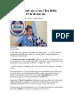 Policía Nacional Ejecutará Plan Belén Entre El 23 y 25 de Diciembre