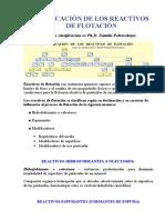 CLASIFICACIÓN DE LOS REACTIVOS DE FLOTACIÓN
