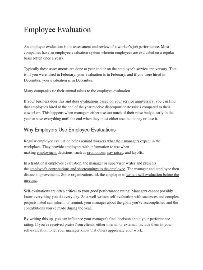 Employee Evaluation  Performance Appraisal  Goal