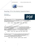 Reading Fill in the Blanks Question Bank