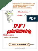 TP N° 1 caloriemetrié