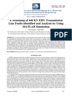 A Modelling of 440 Kv Ehv Transmission Line Faults Identified and Analysis by Using Matlab Simulation