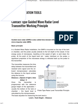 Contact Type Guided Wave Radar Level Transmitter Working