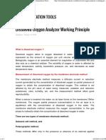 Dissolved Oxygen Analyzer Working Principle Instrumentation Tools