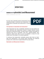 Basics of Hydrostatic Level Measurement Instrumentation Tools