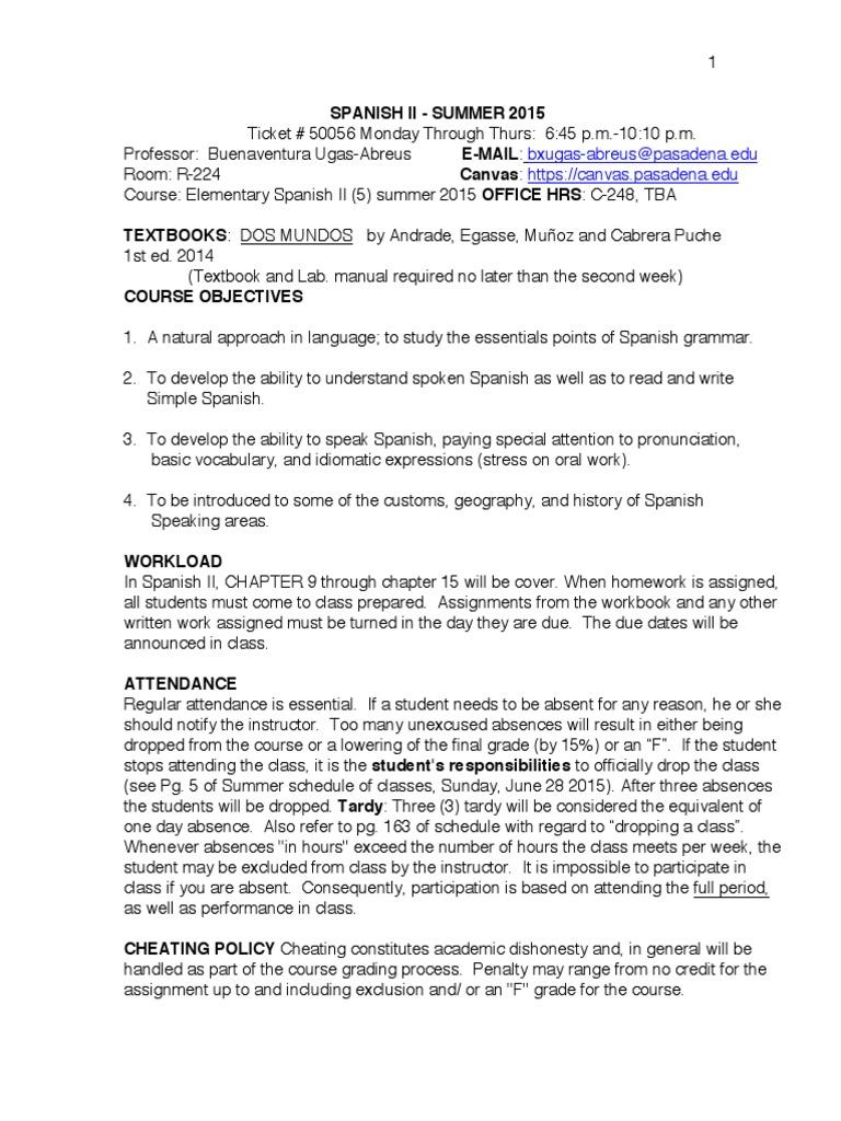 Workbooks workbook in spanish three years : Pasadena City College - 9.1 2015 Summer - Spanish 2 Syllabus ...