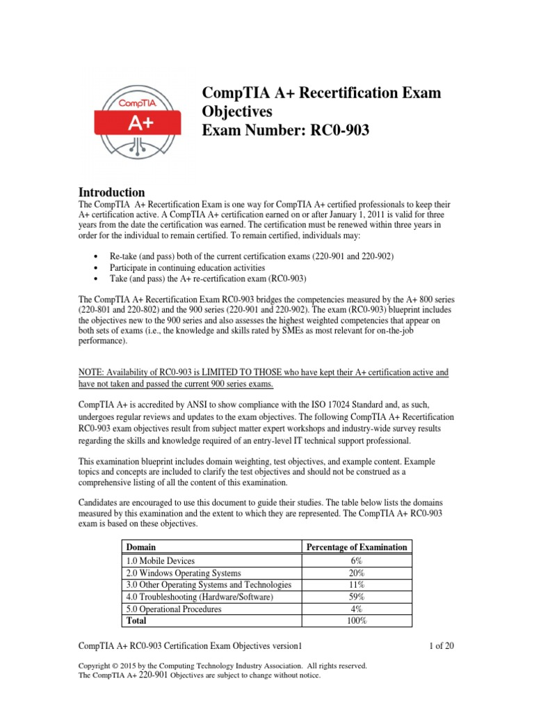 Comptia aplusrecert rc0 903 objectives comp tia operating system xflitez Image collections