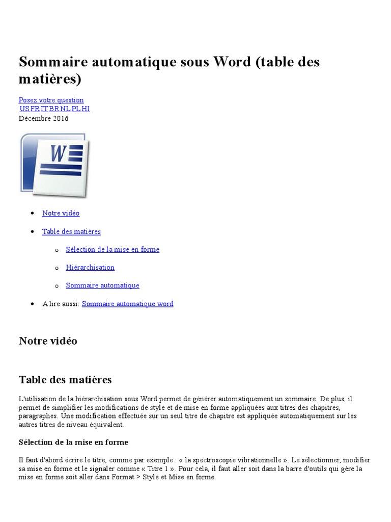Sommaire Automatique Sous Word Microsoft Word Informatique