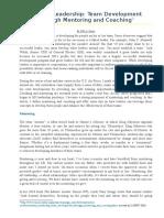 Military Leadership- Team Development Through Mentoring and Coaching