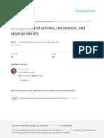 Entrepreneurial Actions Innovation and Appropriability (SEJ 2007) Burgelman & Hitt