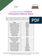Seleccionadas Política Pa Mujeres 2017