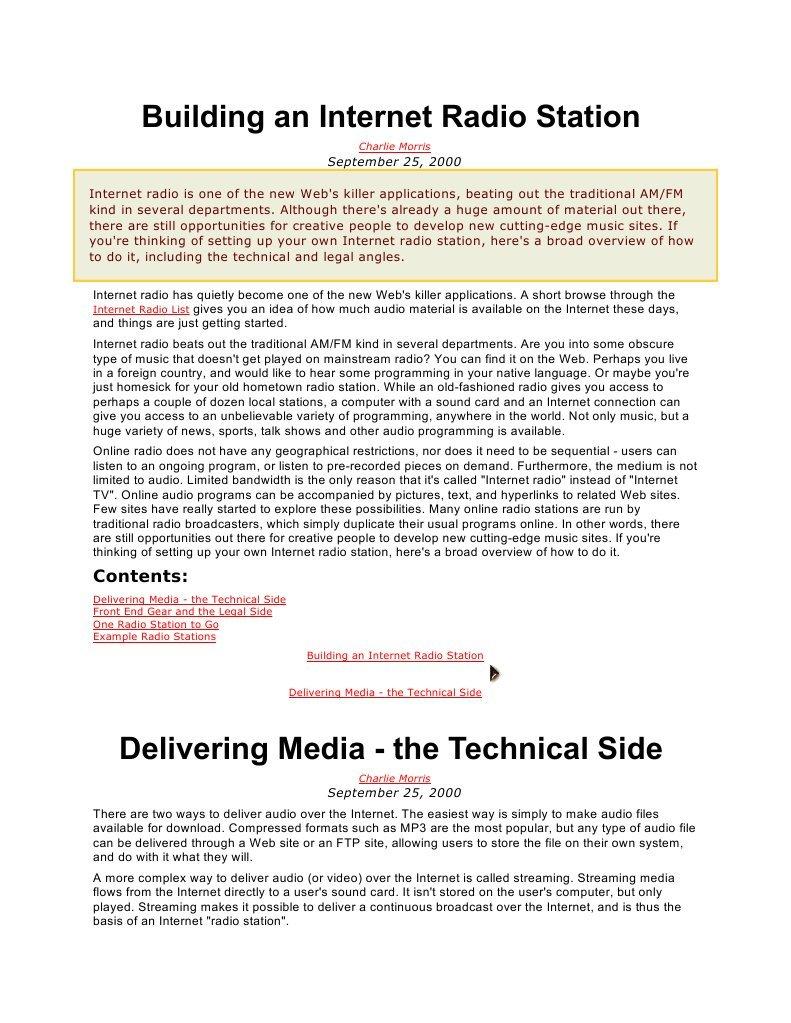 Building An Internet Radio Station Streaming Media A