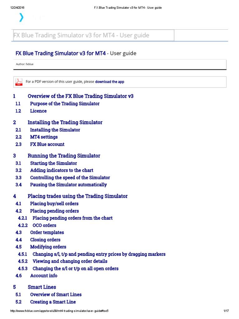 FX Blue Trading Simulator v3 for MT4 - User Guide | Order (Exchange) |  Simulation
