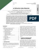 Negative Refractive Index Materials