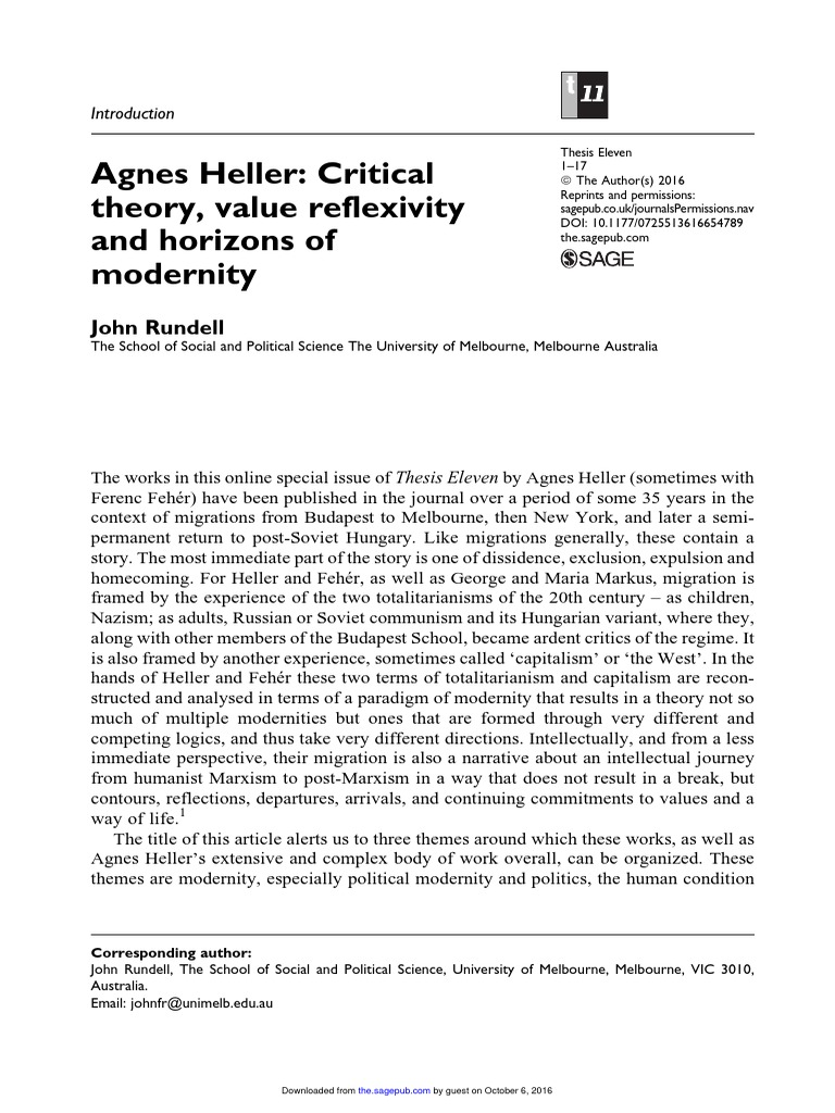 Ethics and Heritage: Essays on the Philosophy of Agnes Heller