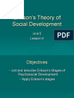 Erikson's Theory of Social Dvpt