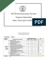 KKM MTK Kelas 1