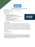 EMC Job Description-Assoc Systems Engineer Analyst