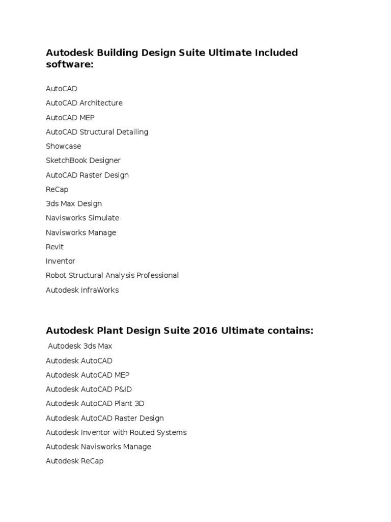Autodesk Suites Includes Autodesk Auto Cad