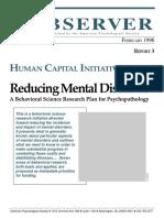 Reducing Mental Disorders