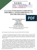 Cultura, Inteligencia Emocional Percibida y Ajuste Emocional - Pablo Berrocal
