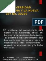 La Universidad Peruana y La Nueva Ley No