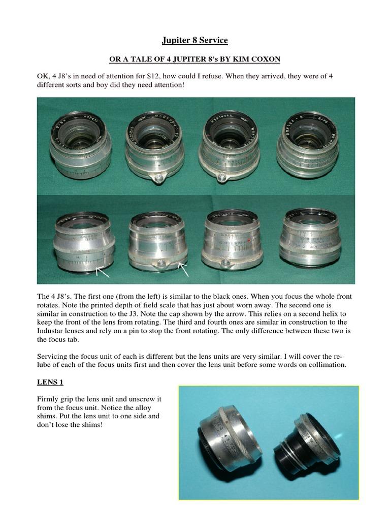 Jupiter 8 Manual de Servicio | Camera Lens | Lens (Optics)