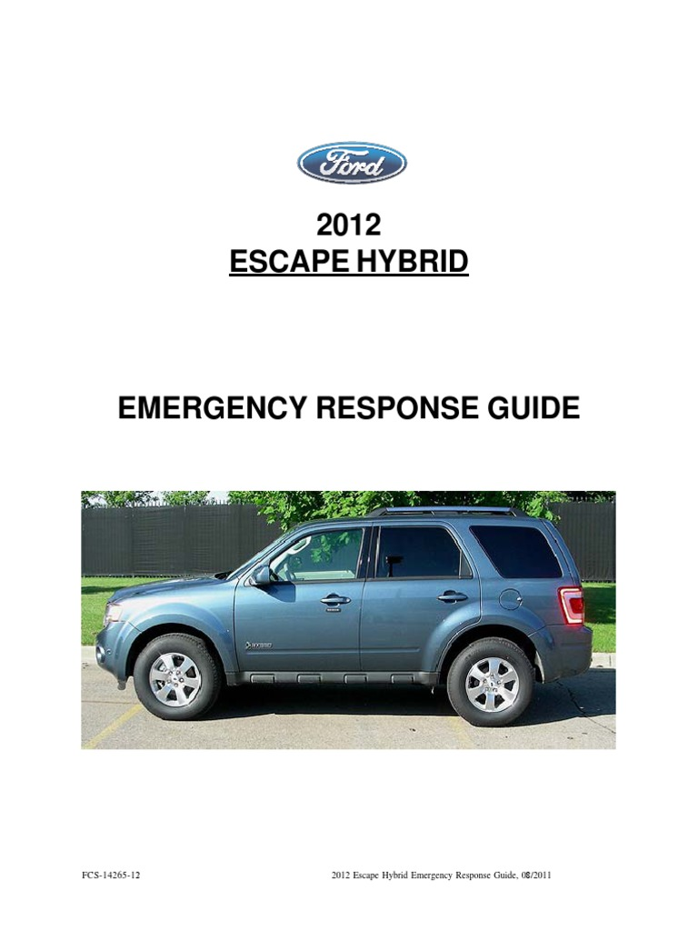 2012escapehybridergdg5th high voltage hybrid vehicle rh scribd com ford fusion hybrid emergency response guide Hazardous Materials Emergency Response Guide