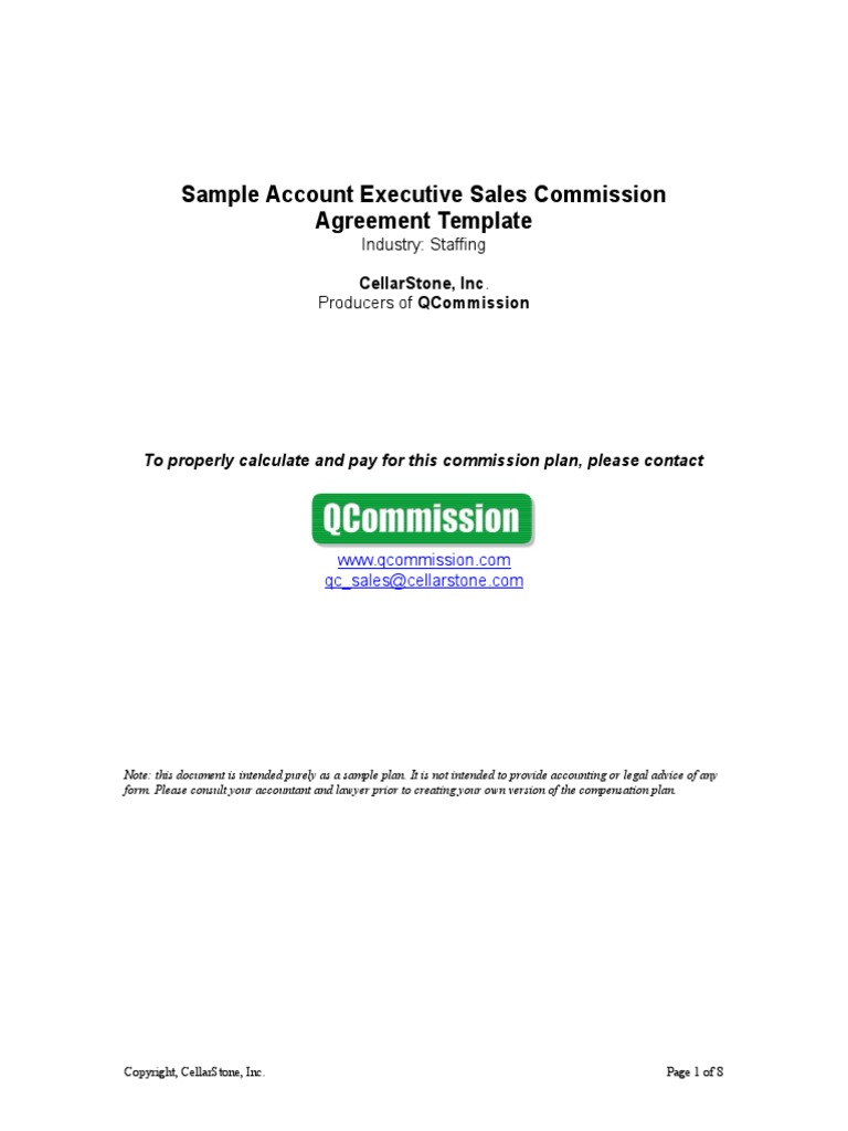 Sample Staffing Account Executive Sales Commission Agreement Template