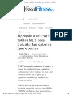 Aprende a Utilizar Las Tablas MET Para Calcular Las Calorías Que Quemas - RealFitness