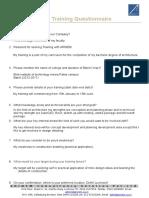 Pre Training Questionnaire