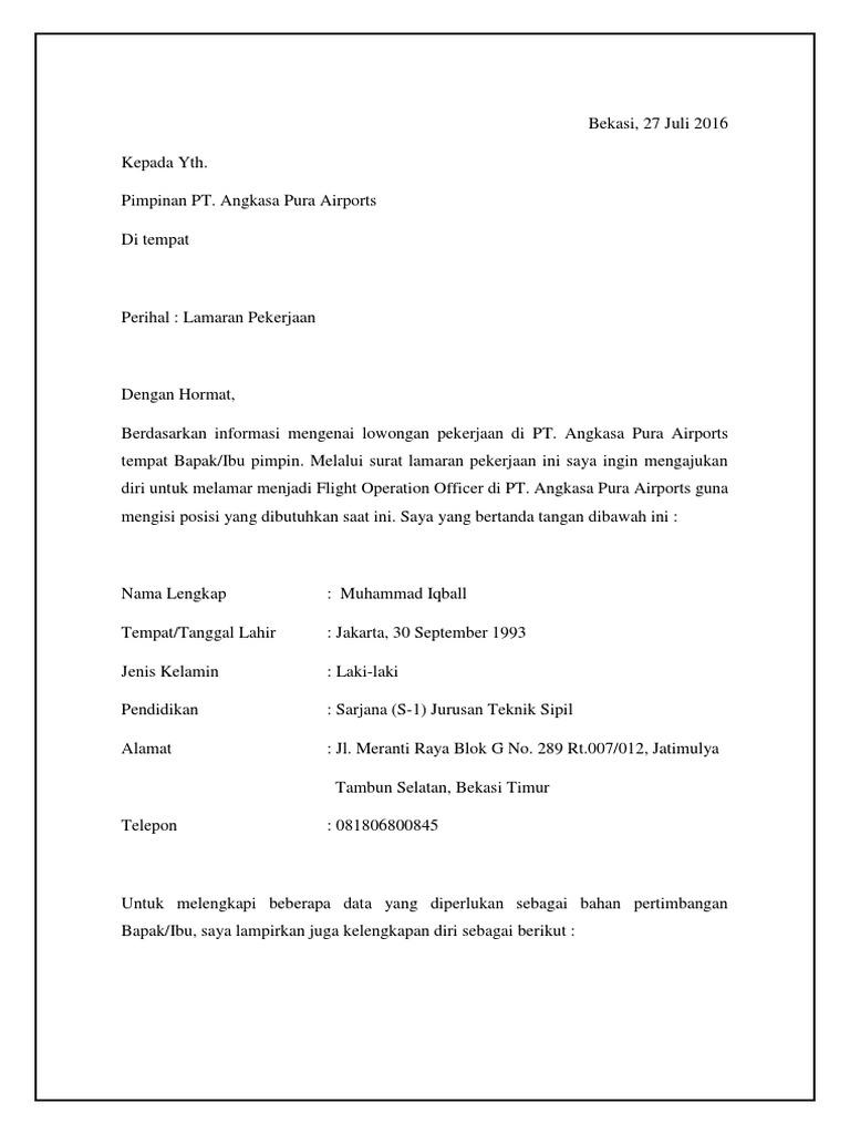 Surat Lamaran Kerja Flight Operation Officer Angakasa Pura