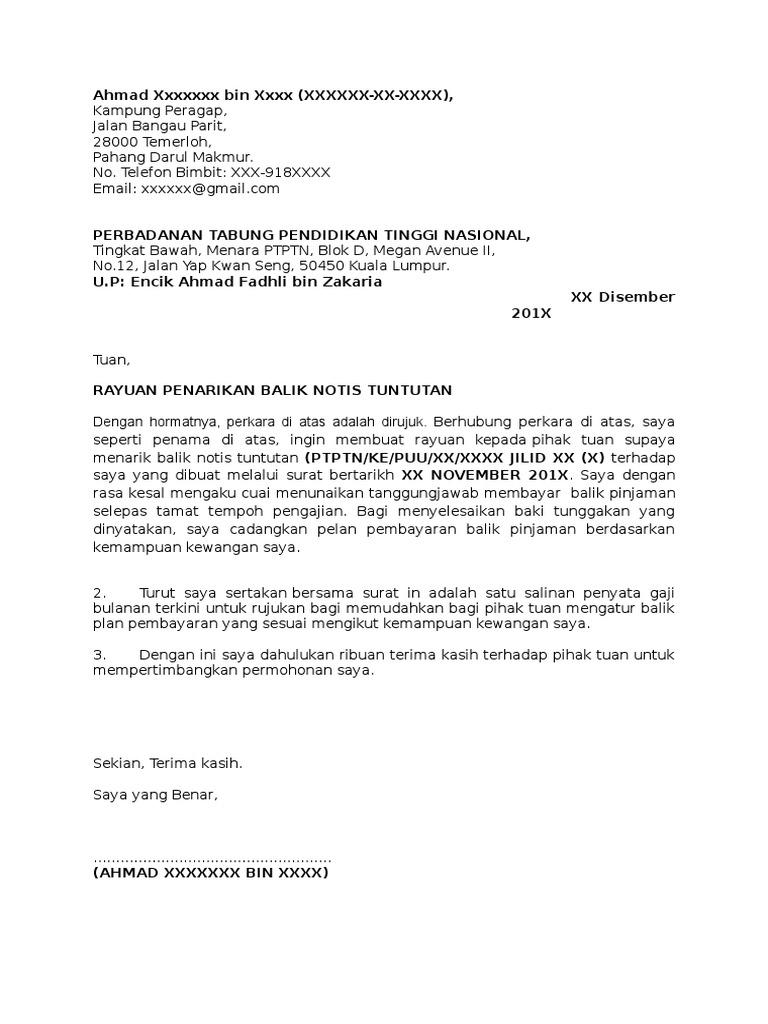 Contoh Surat Rayuan Penarikan Balik Notis Tuntutan Ptptn
