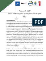 Propunerile CALM privind  politica bugetar - fiscală pentru  anul bugetar 2017