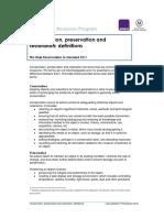 Conservation Restoration Preservation Definitions PDF
