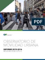 Observatorio de Movilidad- Informe Ejecutivo 2015- 2016