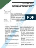 NBR 14175 - Instrumentais Cirurgico e Odontologico de Aco Inoxidavel - Requisitos Gerais