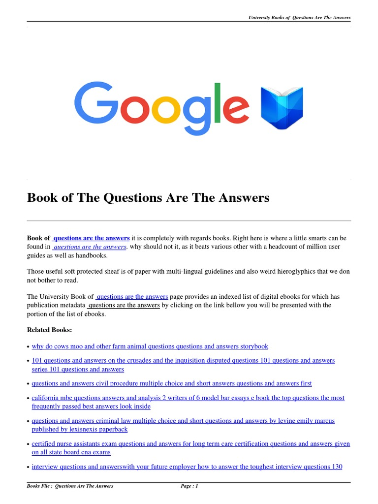 Download Questions Are the Answers pdf | Multiple Choice