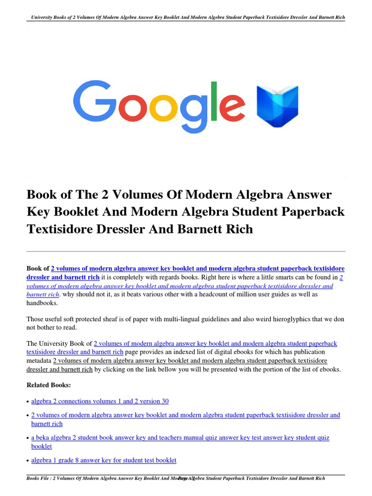 Download 2 Volumes of Modern Algebra Answer Key Booklet and Modern ...