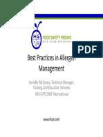 Allergen Management Best Practices